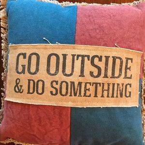 Feedsack Pillow - Go Outside and Do Something